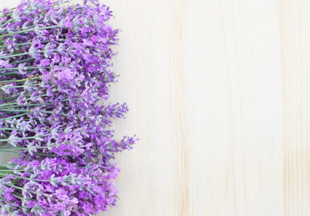 Lavender flowers on a wooden desk
