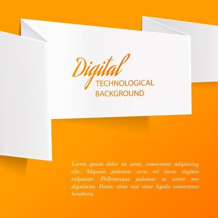 White paper over orange background illustrtion
