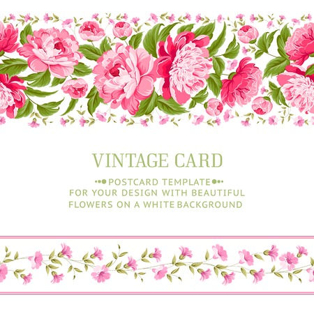 Beautiful peonies card design with red frame  illustration  Vector