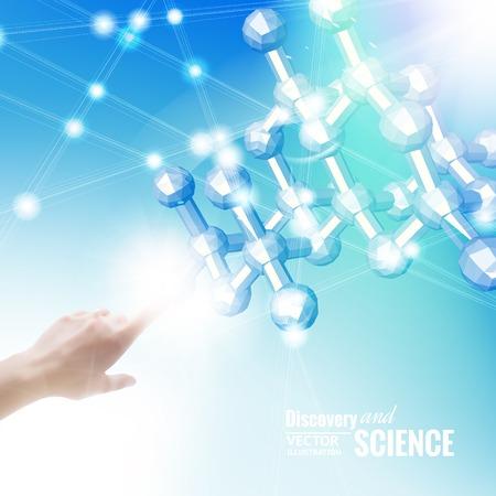 quimica organica: Mano que señala a la molécula en el cielo azul, la ilustración