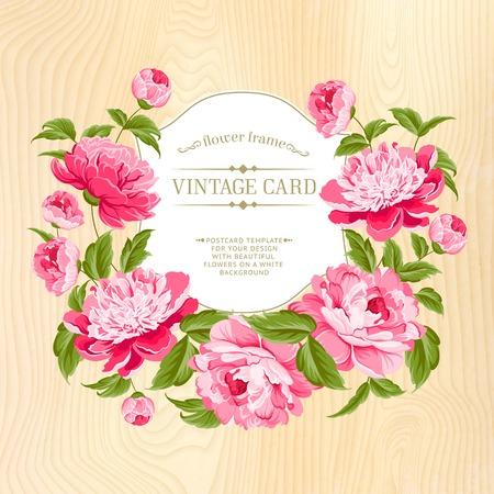 Beautiful peonies on wood background  Vector illustration  Vector
