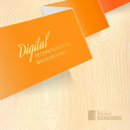Orange paper over wooden background  Vector illustration  Ilustrace