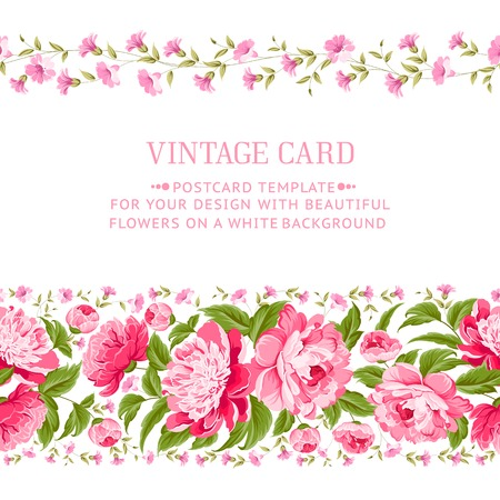 Beautiful peonies with red frame for your invitation card  Vector illustration