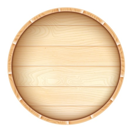 Wine barrel from top isolated on white  Vector illustration
