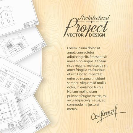 apartment buildings: Wooden desk with architecture bluerints  Vector illustration  Illustration