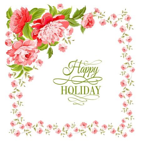 Carta dell'invito di lusso di colore fiori di peonia illustrazione vettoriale