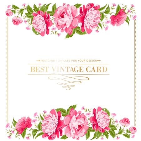 rose border: Luxurious vintage frame of color peony label  Vector illustration