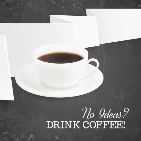 Cup of hot coffee with dark background  Vector illustration