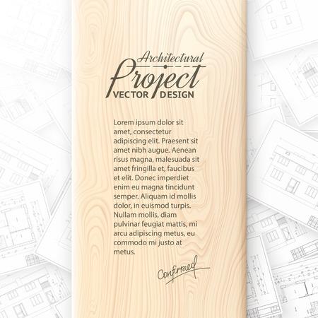 wooden desk: Wooden desk with architecture bluerints  Vector illustration  Illustration
