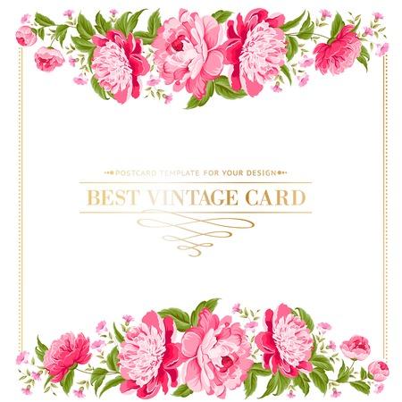 Luxe vintage frame van kleur pioen label Vector illustratie