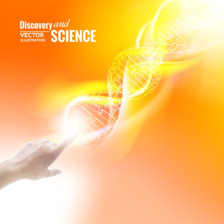 molecule background: Science concept image of human hand touching DNA  Vector illustration