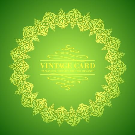 vintage leaf: Golden leaf lace on green background  Vector illustration  Illustration