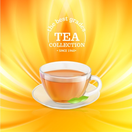 steam of a leaf: Tea cup over orange background  Vector illustration