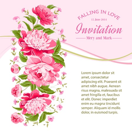 Card of color flowers and text space  Vector illustration  Vector