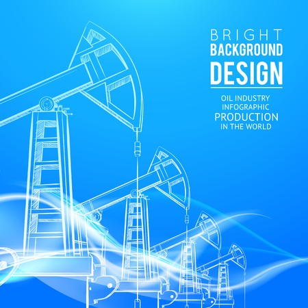 petroleum blue: Oil Pump on orange background. Vector illustration.