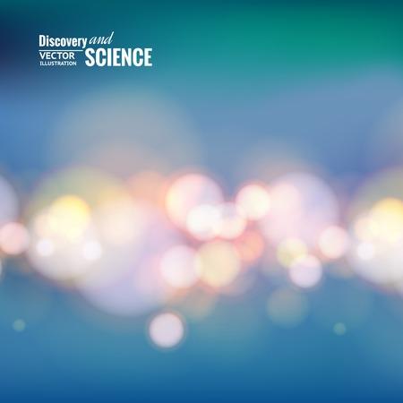 light trails: Bokeh lights line over blue backdrop. Vector illustration. Illustration