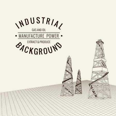 derrick: Oil derrick background with sample text. Vector illustration.