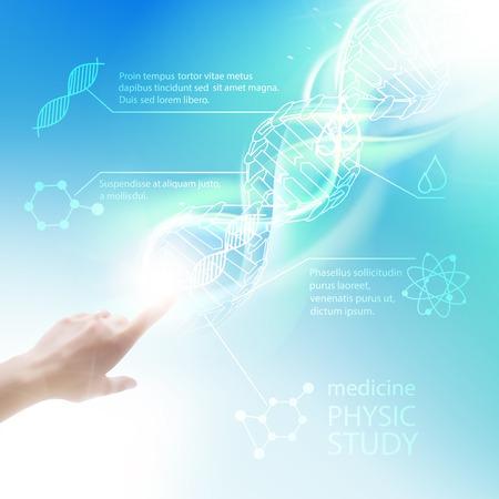Diseño de infografías Bioquímica por la ciencia. Vector illustrtion. Ilustración de vector