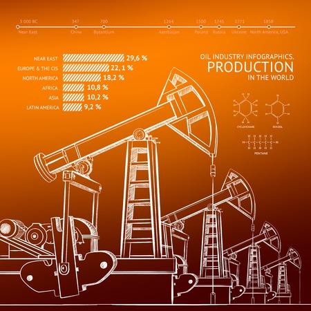 yacimiento petrolero: Bomba de aceite en el fondo de color naranja. Ilustración del vector.