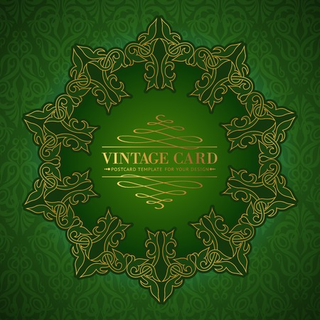 overtone: Damask medallion over green background for your vintage card. Vector illustration.