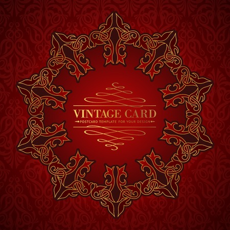 overtone: Damask medallion over red background for your vintage card. Vector illustration.