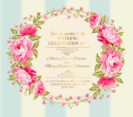 Awesome vintage label of color flowers. Vector illustration.