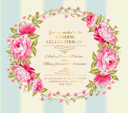 Etiqueta del vintage impresionante de flores de colores. Ilustración del vector.
