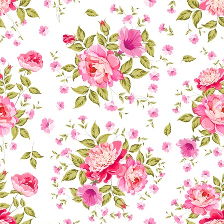 green background pattern: Luxurious color peony seamless pattern. Vector illistration.