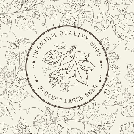 Label and hop on white. Vector illustration. Vector