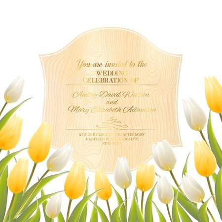 flor aislada: Flor del tulip�n aislada sobre el escritorio woden. Ilustraci�n del vector.