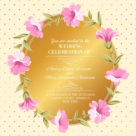 Wedding invitation with floral wreath over dotted background. Vector illustration. Vector