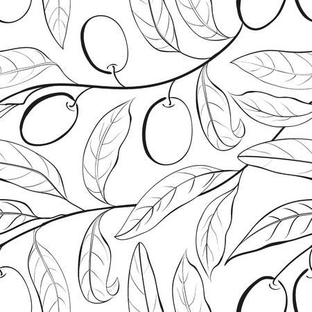Olive seamless pattern. Vector illustration. Vector