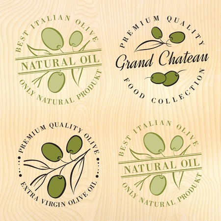 extra virgin olive oil: Natural olive oil labels with olive branches. Vector illustration.
