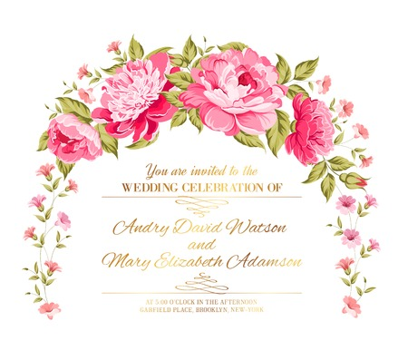 Peony garland for holiday card. Vector illustration.