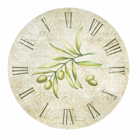 green face: Vintage olive clock illustration isolated in circle.