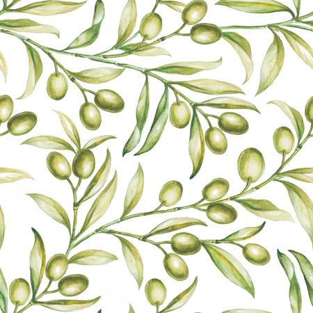 Seamless olive bunch fabric pattern. photo