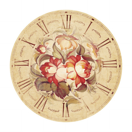 provence: Clock with flowers painted in provence style.