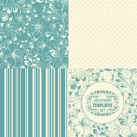 Beautiful seamless background set with four elements. Vector illustration.