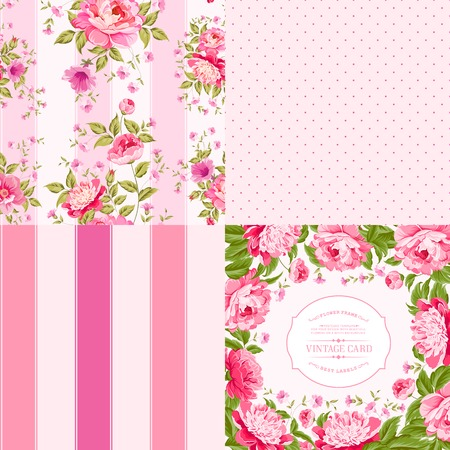 shabby chic background: Awesome vintage background of color flowers. Vector illustration. Illustration