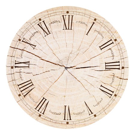 face paint: Illustration of clock face as part of watch with pointers, isolated on white background.