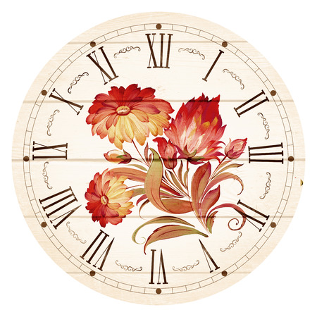 wooden clock: Illustration of clock face as part of watch with pointers, isolated on white background.