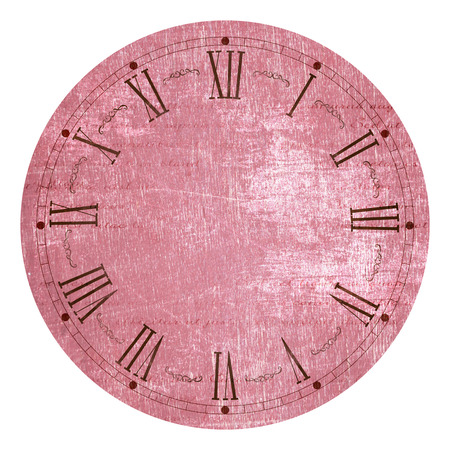 Illustration of clock face as part of watch with pointers, isolated on white background.
