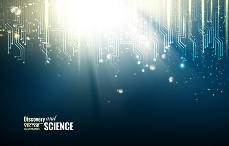 high technology: Science blue lights background. Vector illustration.