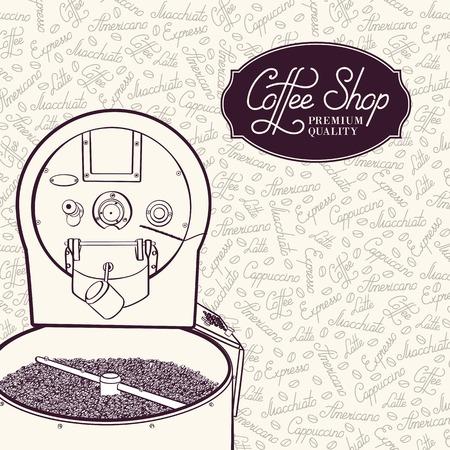 Ziarna kawy w ekspresie do kawy z chłodnicy. Ilustracja wektorowa.
