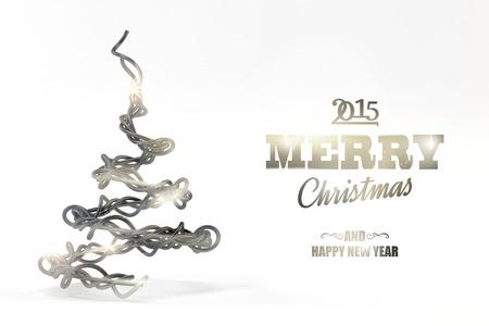 Illustration of wired christmas tree on white background illustration