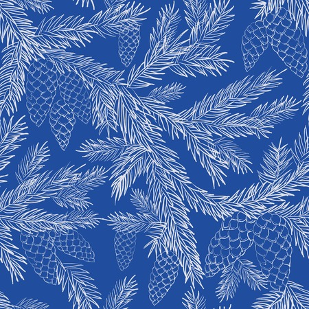Seamless pattern with  fur-tree branches, monochrome. Vector illustration. Vector