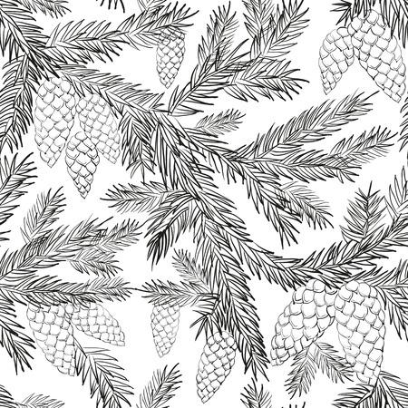 Seamless avec des branches d'arbre de Noël, monochrome. Vector illustration.