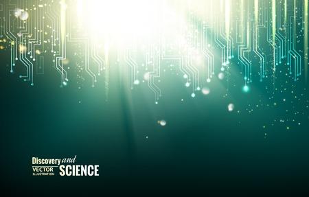 circuitos electronicos: Circuito de luces azules de fondo. Ilustraci�n del vector.