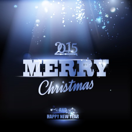 Merry Christmas and Happy New Year 2014 card over dark background. Vector illustration. Vector