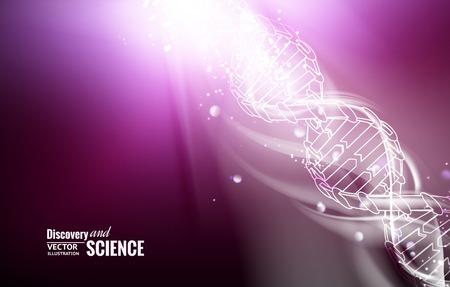 glittery: Digital illustration of a DNA molecule. Vector illustration.